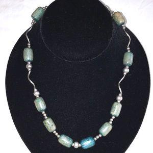 VINTAGE Faux Turquoise & Silver Tone Necklace